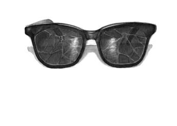 """""""Quand les vitres du White Sands Casino de Las Vegas éclatèrent sous l'onde de choc de la détonation de la première décharge nucléaire à Trinity Site, non loin de là, le croupier étoile Joe Lilly portait ces lunettes polarisées. Leurs verres de fabrication artisanale résistèrent à l'impact."""" // """"Cuando los vidrios del White Sands Casino de Las Vegas estallaron bajo la onda de choque de la detonación de la primera descarga nuclear en Trinity Site, no lejos de ahí, el crupier estrella Joe Lilly, llevaba estos lentes polarizados. Sus vidrios de fabricación artesanal resistieron al impacto."""" (Daniel Canty, Wigrum, La Peuplade, 2011)."""