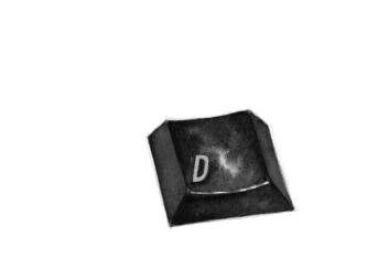 """""""Ce D témoigne d'un cas étrange de lipographie. Il est la dernière consonne d'un clavier de plastique édenté, où seules les voyelles sont encore présentes."""" // """"Esta D da prueba de un extraño caso de 'lipografía'. Se trata de la última consonante de un teclado de plástico desdentado, en el que sólo quedan las vocales."""" (Daniel Canty, Wigrum, La Peuplade, 2011)."""
